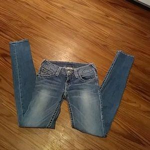 Woman's TRUE RELIGION Skinny Jeans Size 28x34 Long